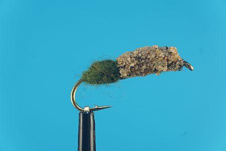 Cased Caddis natural - olive 1000vliegen
