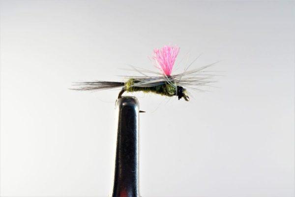 1000vliegen.nl, drijvend, droge vliegen, Indicator Parachute BWO / blue winged olive,,forel, venlo, vijver, river, vliegvissen, vliegvisser, vlagzalm, wf lijn