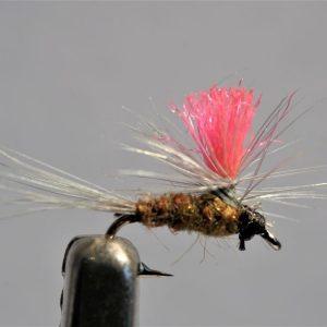 1000vliegen.nl, drijvend, droge vliegen, Indicator Parachute Baetis,,forel, venlo, vijver, river, vliegvissen, vliegvisser, vlagzalm, wf lijn