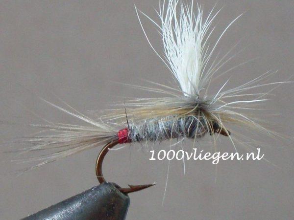 1000vliegen.nl-droge vlieg-Iron Blue Dun Parachute vlieg-forel-vlagzalm-voorn- -dry fly-vliegvissen-rivier-vliegvisser-drijvend--venlo