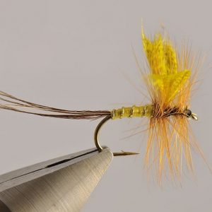1000vliegen.nl-droge vlieg-mayfly yellow -vlagzalm-forel-dry fly-vliegvissen-rivier-vliegvisser-drijvend--venlo