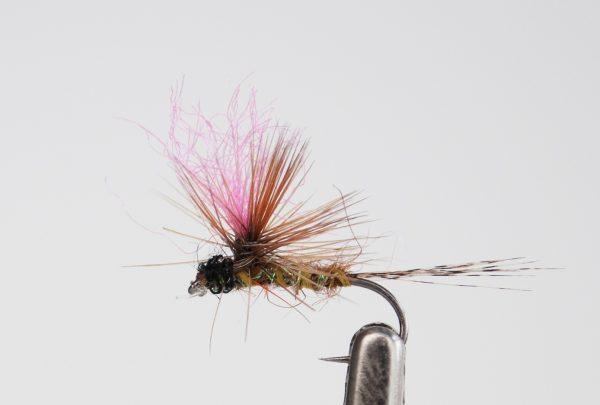 1000vliegen.nl-droge vlieg-Pinky Para -forel-vlagzalm- dry fly-vliegvissen-rivier-vliegvisser-drijvend--venlo