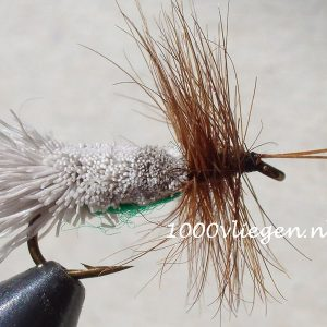 1000vliegen.nl-droge vlieg-Goddard Caddis-hertehaar- vlieg-forel-vlagzalm-voorn- -dry fly-vliegvissen-rivier-vliegvisser-drijvend--venlo