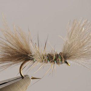 1000vliegen.nl-droge vlieg-CDC Shipman Buzzer-forel-dry fly-vliegvissen-rivier-vliegvisser-drijvend-CDC-venlo