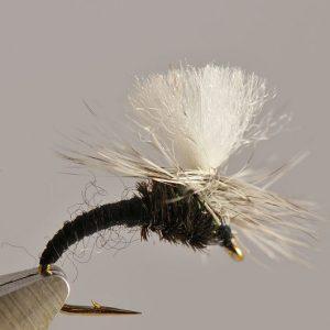 1000vliegen.nl-droge vlieg-klinkhammer black – hans van klinken – emerger caddis-vlagzalm-forel-dry fly-vliegvissen-rivier-vliegvisser-drijvend--venlo