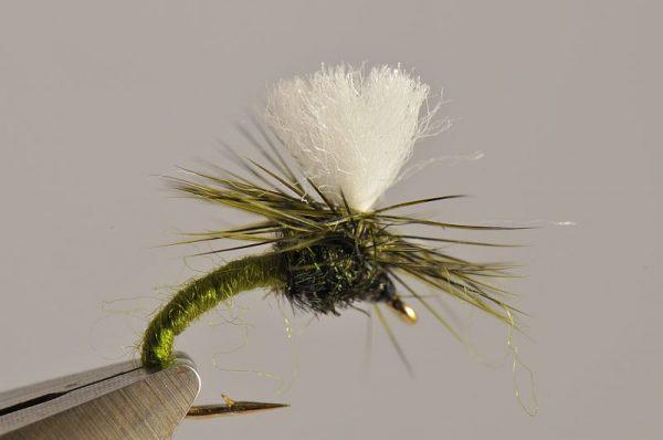 1000vliegen.nl-droge vlieg-Klinkhammer Olive ( groen )– hans van klinken – emerger caddis-vlagzalm-forel-dry fly-vliegvissen-rivier-vliegvisser-drijvend--venlo