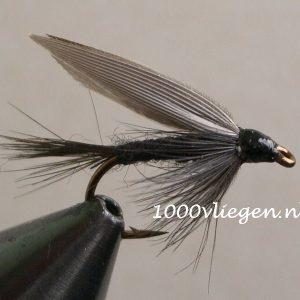 1000vliegen.nl-natte vlieg- Black Gnat - dead drift-intermediate lijn-floating lijn-vliegvissen-vliegvisser-wet fly-venlo