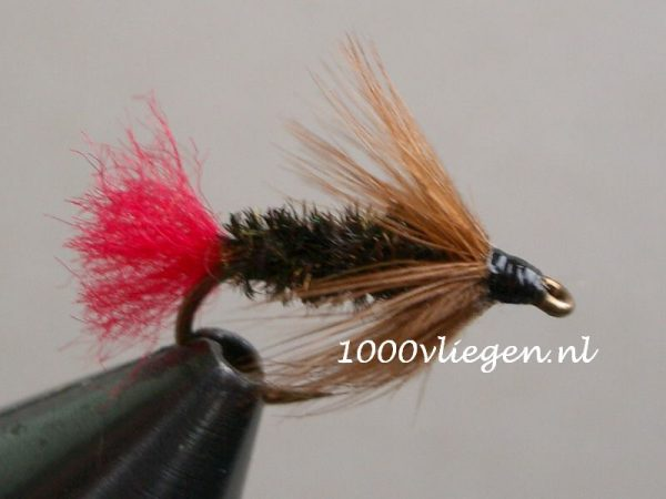 1000vliegen.nl-natte vlieg- Brown Hackle Peacock- dead drift-intermediate lijn-floating lijn-vliegvissen-vliegvisser-wet fly-forel-vlagzalm-winde-venlo