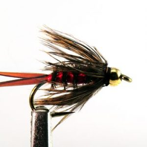 1000vliegen.nl, tungsten, tungsten nymph, Bloody Mary Red , forel, regenboogforel, baars, voorn, venlo, vijver, river, polder,vliegvissen, vliegvisser, vlagzalm, wf lijn