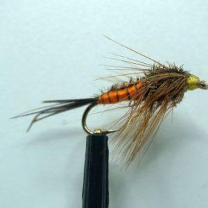 1000vliegen.nl, forel, regenboog forel, rivier, nymph, Carrot Nymph , venlo, vliegvissen, vliegvisser, voorn