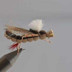 1000vliegen.nl, drijvend, insecten,terrestrials, hopper foam, sprinkhaan foam, sprinkhaan, forel, venlo, vijver, river, vliegvissen, vliegvisser, vlagzalm, wf lijn