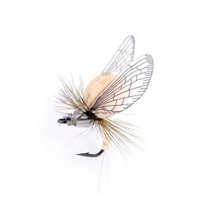 1000vliegen.nl, Mayfly Emerger Color Beige/Light Grey, realistic fly, emerger, mayfly, meivlieg, droge vlieg, tenkara, tencamo, rivier, forel, vlagzalm, vliegvissen, venlo